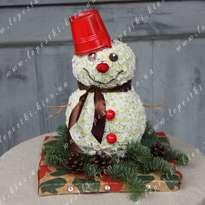 Snowman made of flowers