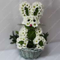 "Toy made of flowers ""Satisfied hare"""