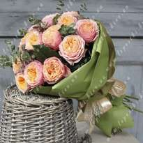 15 peony roses with greenery