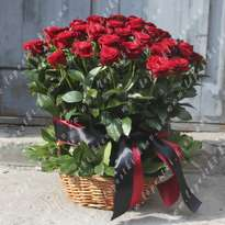 Mourning Basket of 40 Roses