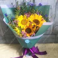 """Bouquet with sunflowers """"Warm August"""""""