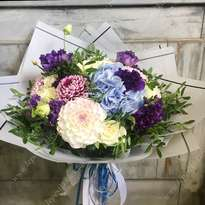 Colorful bouquet with dahlias and hydrangea