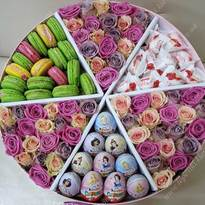 Large box with flowers and sweets