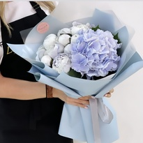 """Bouquet with blue peonies """"Laguna"""""""